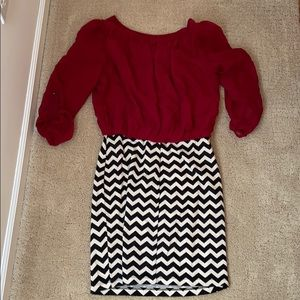 Ruby Rox Dresses - Ruby Rox red and black and white chevron dress S